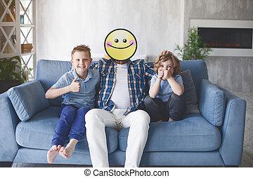 papa, sourire, gosses, content