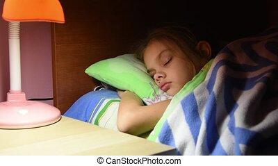 Papa straightened the blanket have fallen asleep and kissed her daughter turned off the desk lamp by the bed