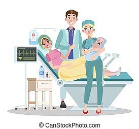 papa, tenue, jeune maman, bébé, heureux