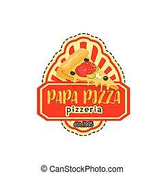 papa, vecteur, pizza, pizzeria, icône, italien