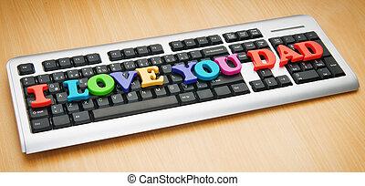 papa, vous, amour, mots, clavier