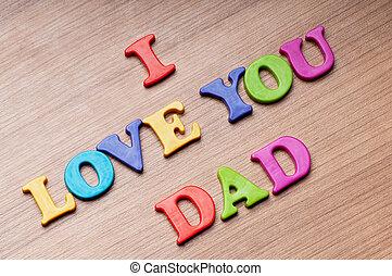 papa, vous, amour, mots, fond