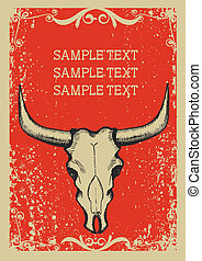 papaer, oud, schedel, cowboy, .retro, tekst, beeld, achtergrond, stier