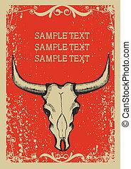 papaer, stary, czaszka, kowboj, .retro, tekst, wizerunek, tło, byk