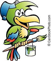 papagáj, ezermester, munkás, ábra, vektor, karikatúra, szobafestő