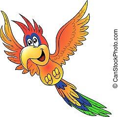 papagai, fröhlich, fliegendes, isoliert