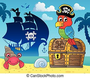 papagaio, entesoure tórax, topic, 3, pirata