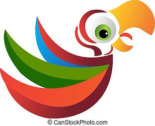 papagaio, logotipo, vetorial