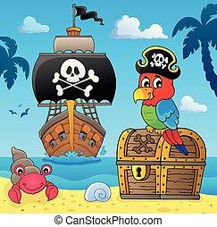 papagaio, tesouro, topic, peito, 4, pirata