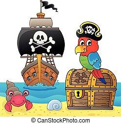 papagaio, tesouro, topic, peito, 5, pirata
