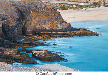 Papagayo Beach at sunset, Lanzarote Island, Spain