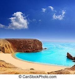 papagayo, el, 浜, lanzarote, playa, カナリア