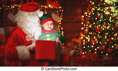 papai noel, e, pequeno, duende, com, magia, presente, para, natal