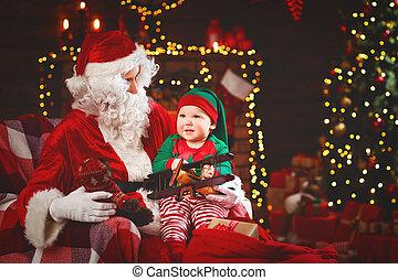 papai noel, e, pequeno, duende, para, natal