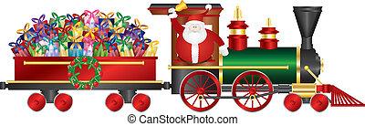 papai noel, ligado, trem, entregar, presentes, ilustração