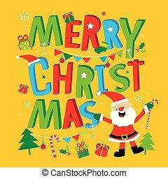 papai noel, saudação, natal, vetorial, feliz, ano, novo, caricatura, cartão, feliz