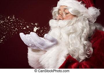 papai noel, soprando, algum, snowflakes