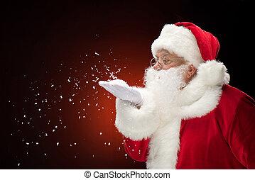 papai noel, soprando, snowflakes