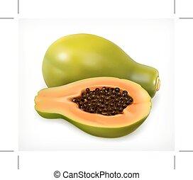 papaia, fruit., vetorial, ícone