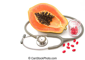 papaia, nutrição, pílula, fruta, estetoscópio, suplemento, conceito