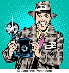 paparazzi, appareil-photo., média, photographe, presse, travail, journaliste