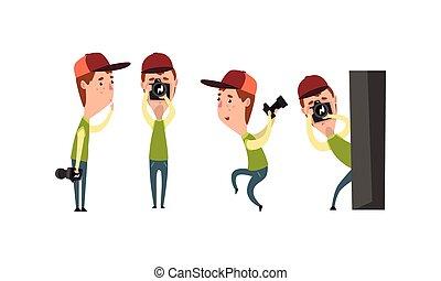 Paparazzi Holding Photo Camera and Photographing Set, Funny Photographer Cartoon Character Taking Photos Vector Illustration on White Background