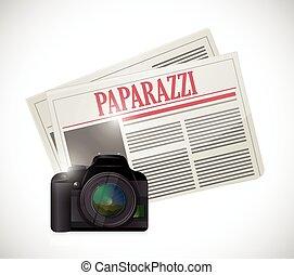 paparazzi newspaper and camera concept illustration design...