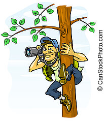 paparazzi photograph from a tree - vector illustration
