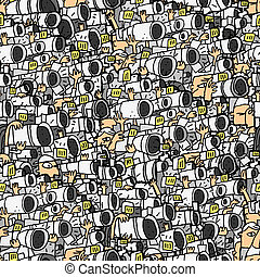 Paparazzi seamless pattern with doodle drawings. ...