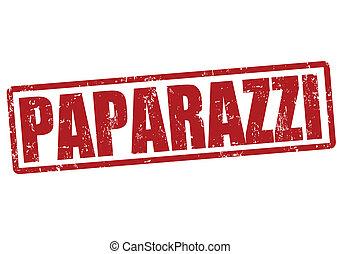 Paparazzi grunge rubber stamp on white, vector illustration