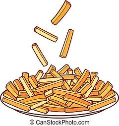 papas fritas, en, un, placa