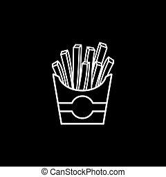 papas fritas, línea, icono, alimento, bebida, elementos
