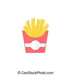 papas fritas, plano, icono, alimento, bebida, elementos