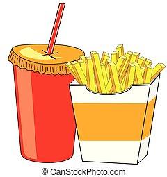 papas fritas, y, un, vidrio, de, bebida