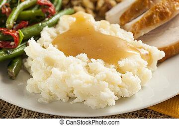papas, salsa, orgánico, casero, triturado