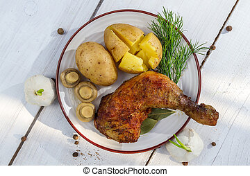 papas, servido, pollo, chaquetas, pierna