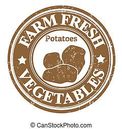 papas, vegetal, estampilla, o, etiqueta
