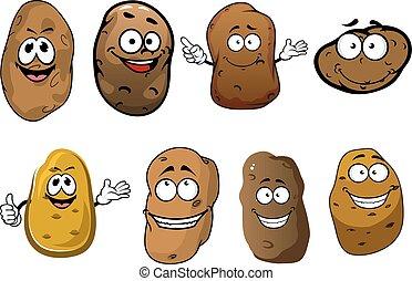 papas, vegetales, sonriente, caricatura, divertido