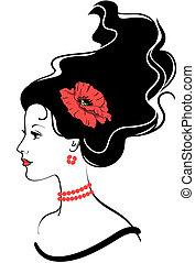 papavero, ragazza, acconciatura, bellezza, faccia, rosso, silhouette