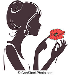 papavero, ragazza, silhouette, rosso, bellezza