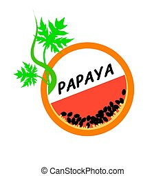 Papaya Fruit icons flat style, Vector Illustration.