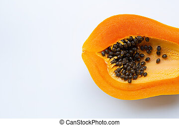 Papaya fruit on a white background.