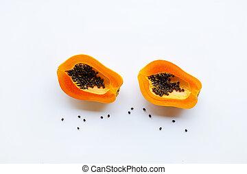 Papaya fruit on a white background.
