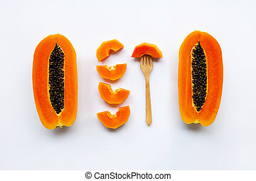 Papaya fruit on white background