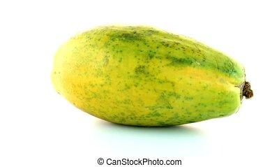 Papaya fruit on white background