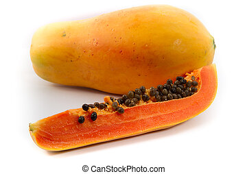 Papaya fruit sliced on half isolated on a white background....