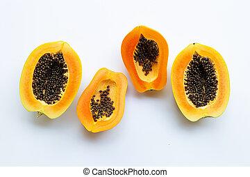 Papaya fruits on a white background.
