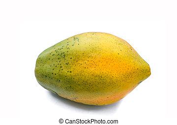 papaya fruits on white background