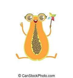 Papaya Girly Cartoon Character