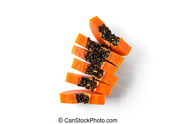papaya isolated on a white background